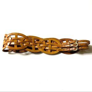 Linea Pelle Leather Triple Buckle Braided Belt M
